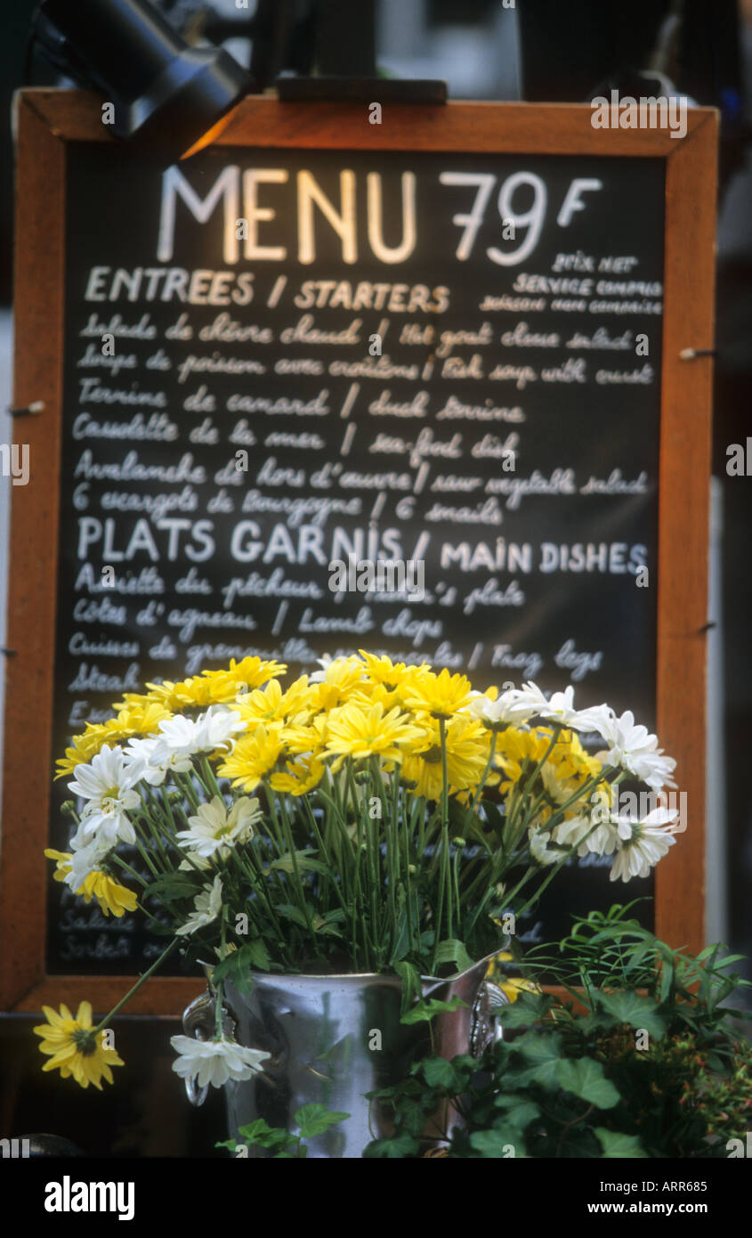 Menus of french restaurant Paris Stock Photo