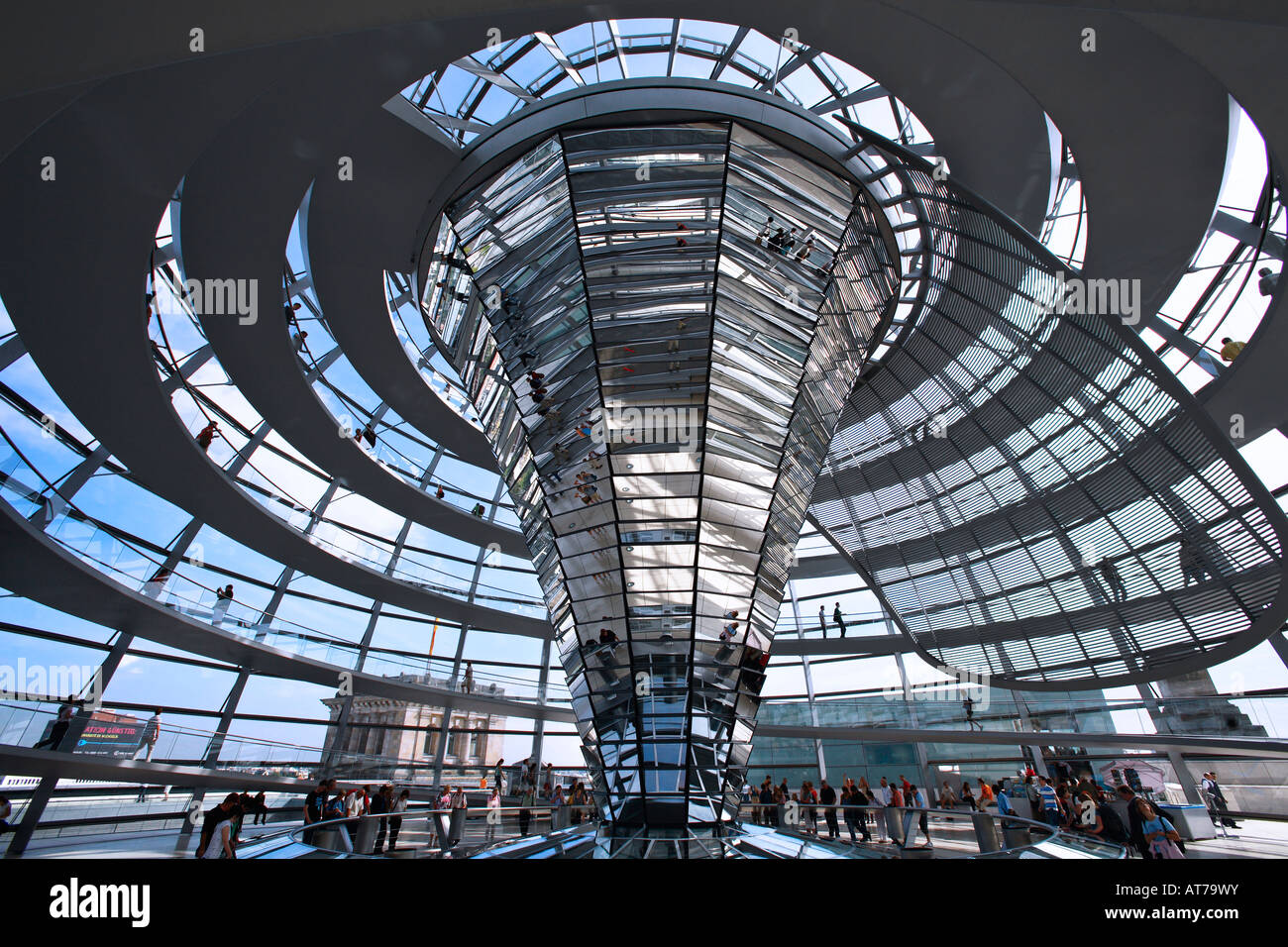 Interior of the Reichstag dome by Norman Foster in Berlin Stock Photo