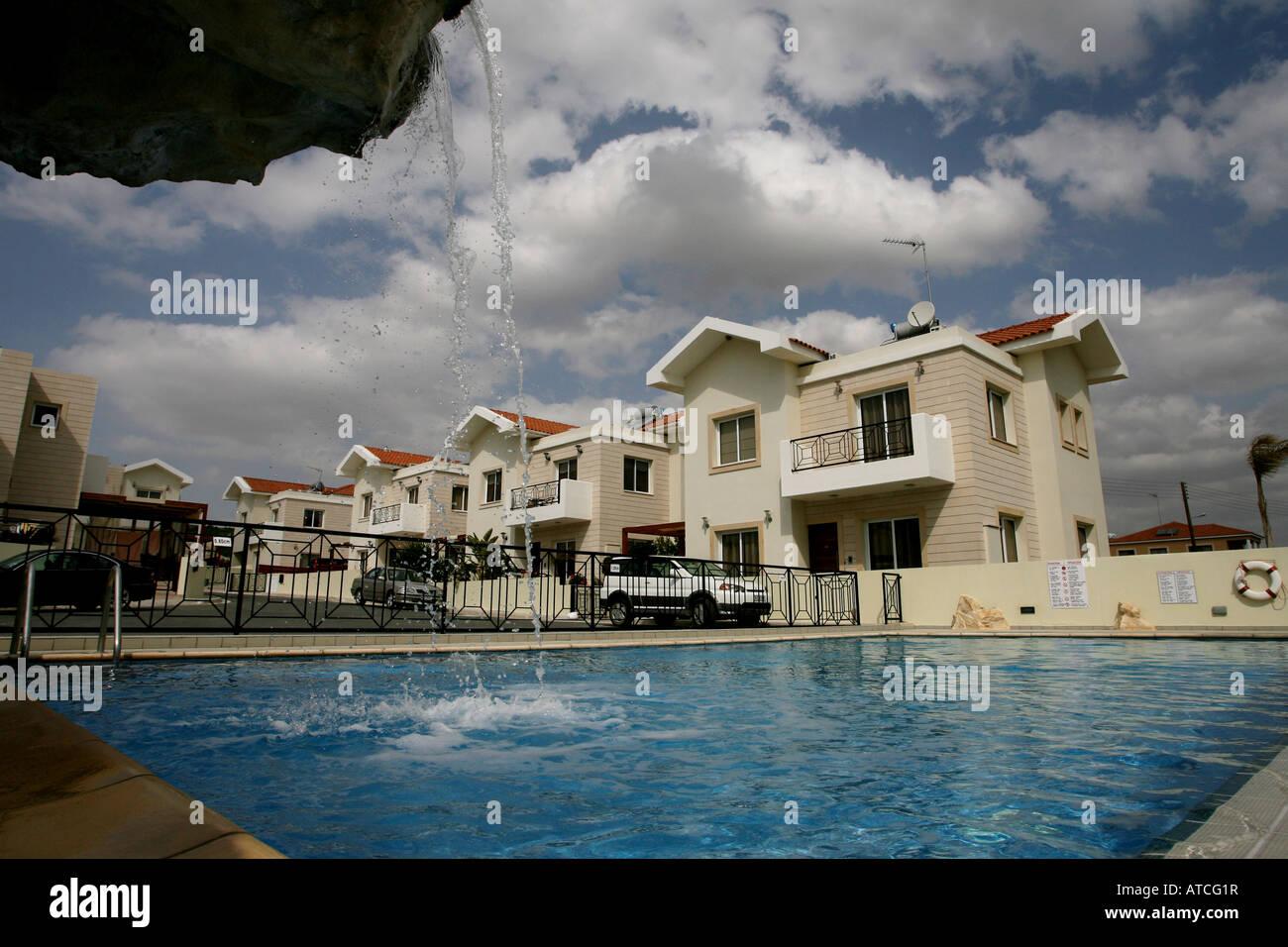 Holiday Homes And Apartments And A Swimming Pool At Pyla Near Larnaca Stock Photo Royalty Free