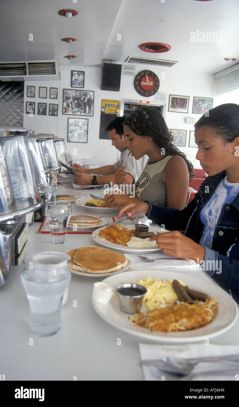 2 Teenage Girls Eating Typical American Breakfast Of ...