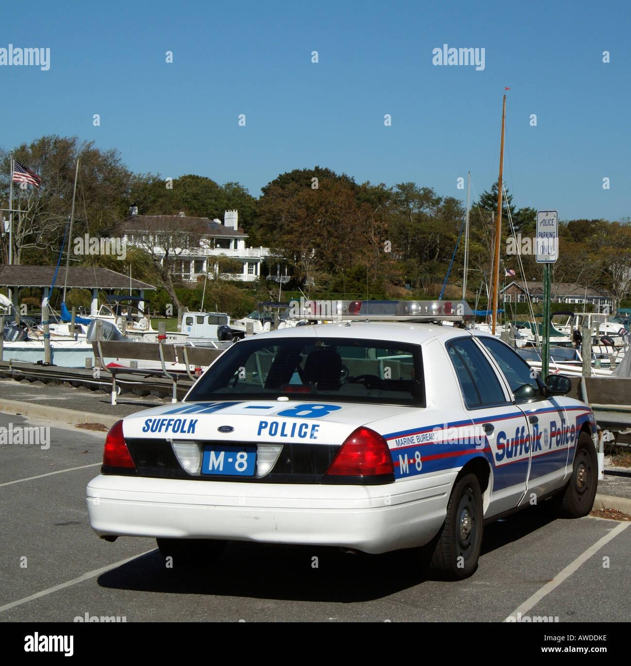 suffolk county marine bureau police car on bellport marina. Black Bedroom Furniture Sets. Home Design Ideas