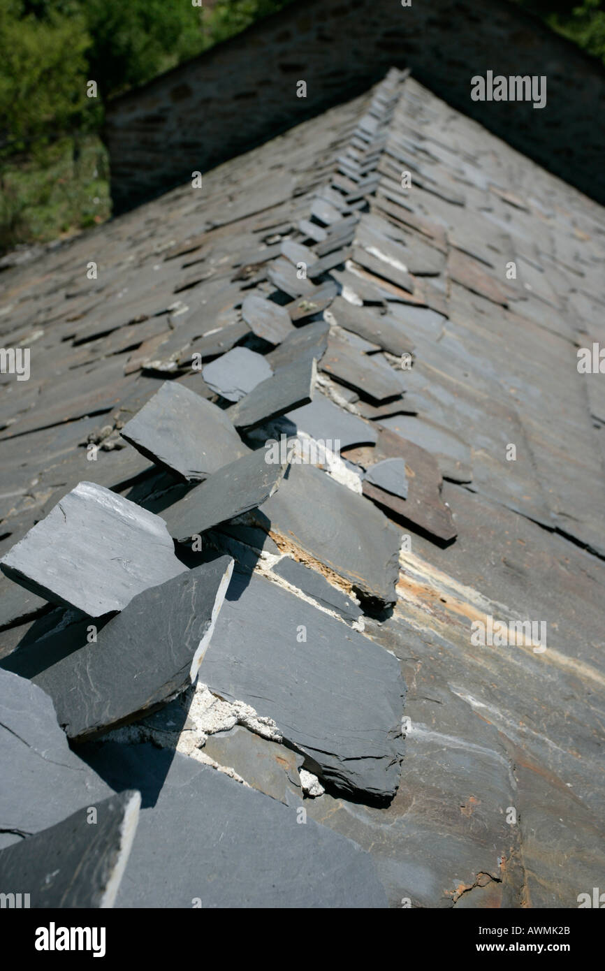 Traditional Slate Roof On A House In Rio De Onar Portugal