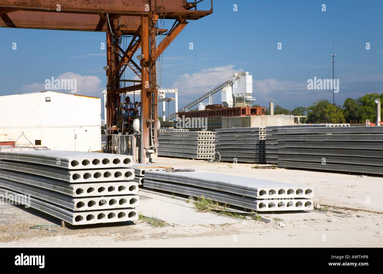 Concrete Batch Plant Behind Precast Concrete Products And