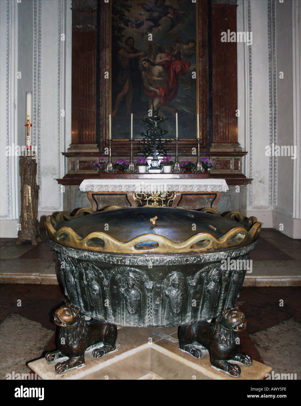 The baptismal font in which Mozart was baptised in Salzburg cathedral, Austria Stock Photo