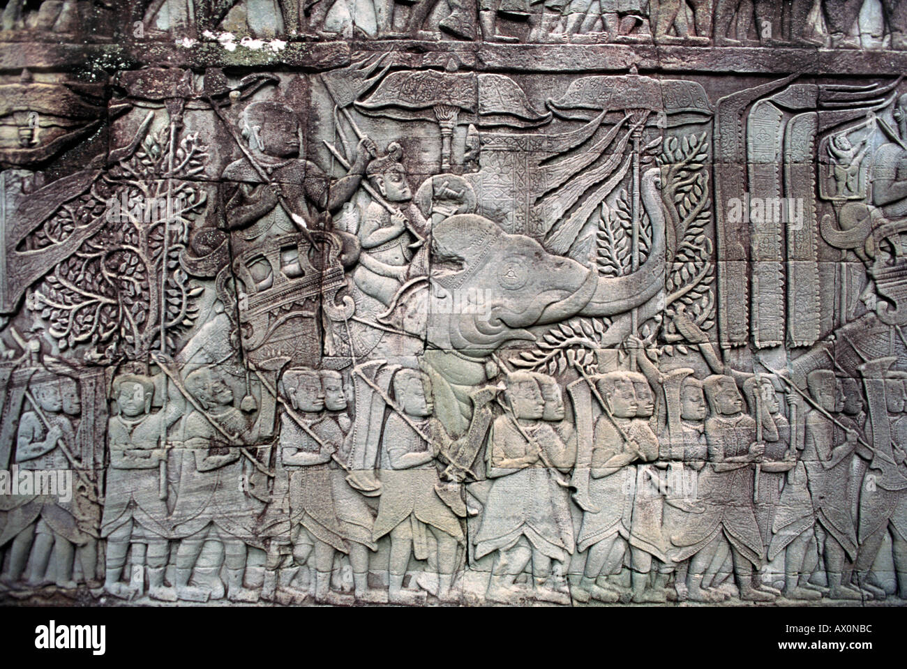 Bas relief with elephant carved onto the outer walls of