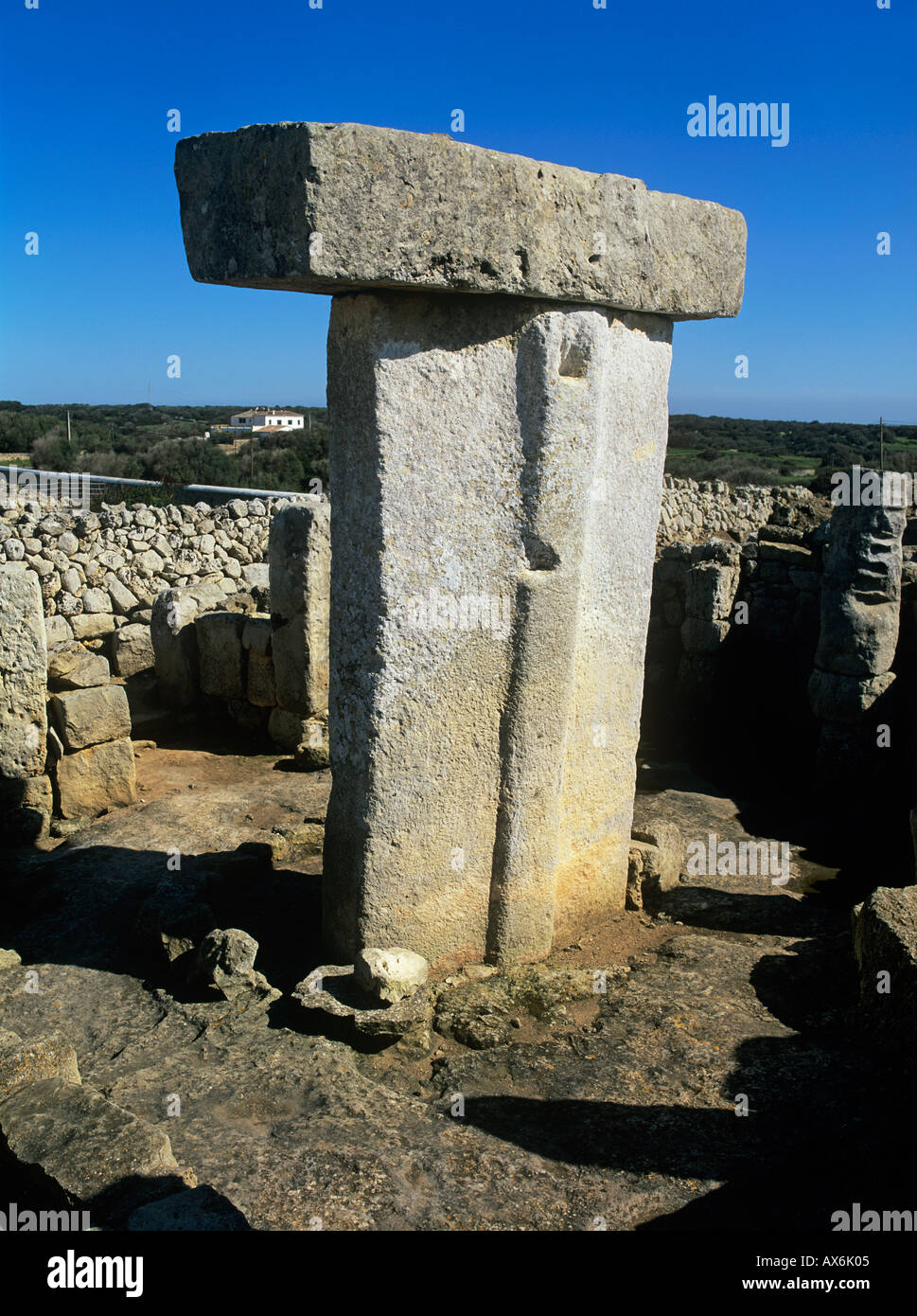 Menorca. Minorca Balearic islands.Taula, Torralba d'en Salord.near Alaior Menorca, Spain. Megalithic monument. Stock Photo