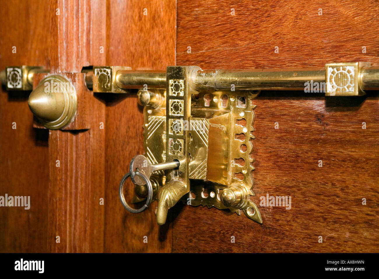 Antique Brass Door Latch And Lock Typical Of Traditional