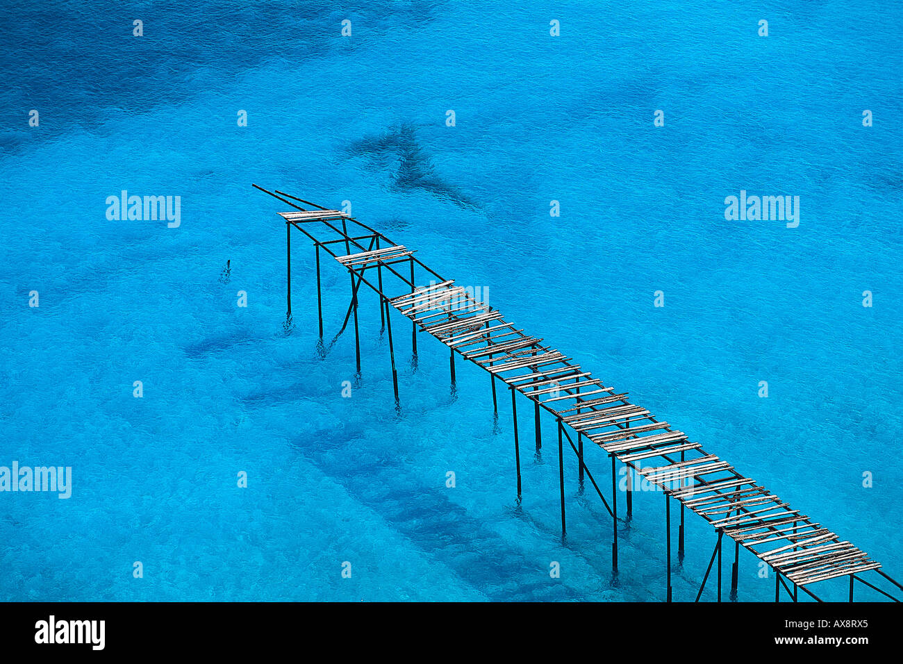Broken wooden jetty near Porticello, Lipari Island, Aeolian Islands, Italy Stock Foto