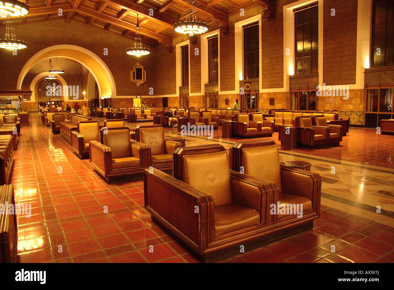 Interior Los Angeles Union Station Lobby 1940's decor Stock Photo
