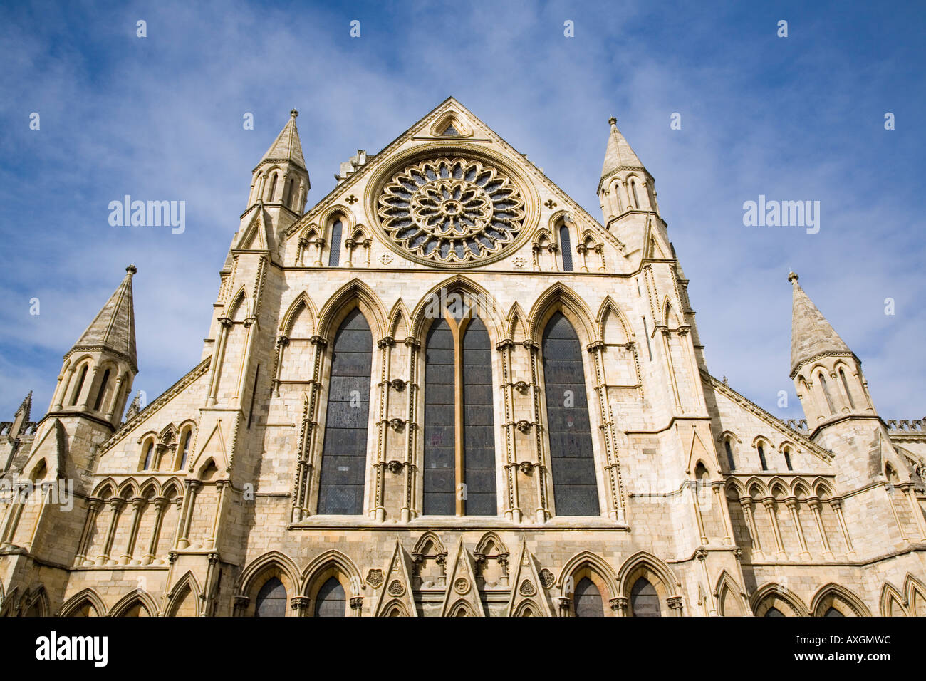 13th century medieval Gothic York Minster South Transept with rose window. York Yorkshire England UK britain Stock Photo