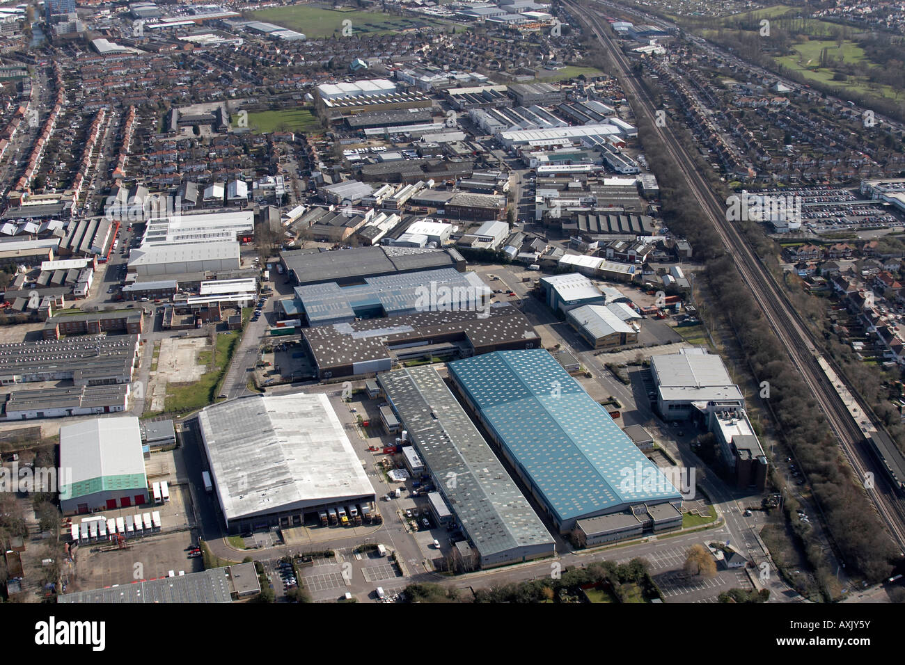 High Level Oblique Aerial View East Of Perivale Industrial ...