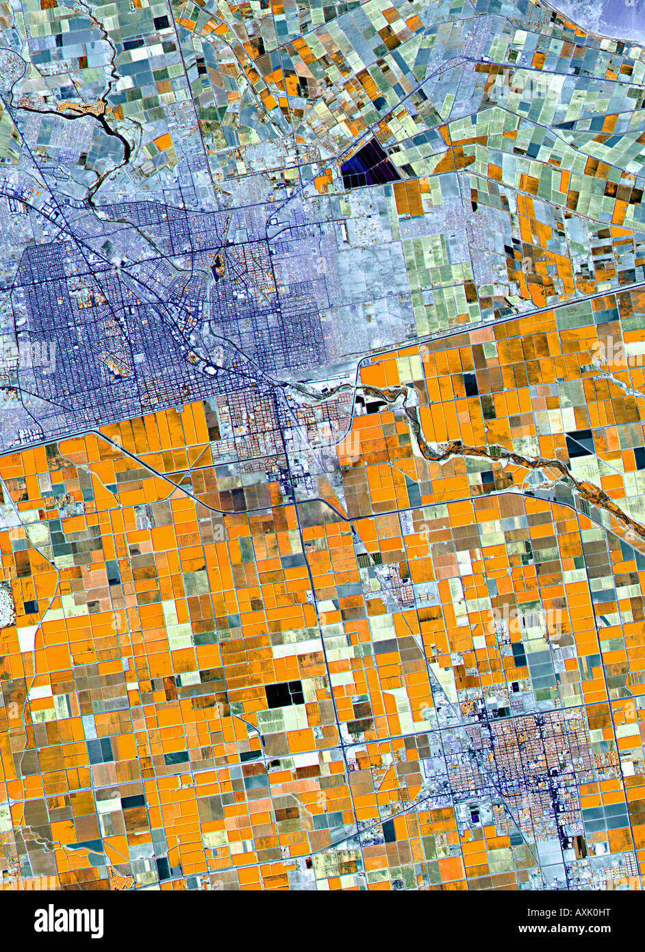 Satellite image of farmland Germany Stock Photo