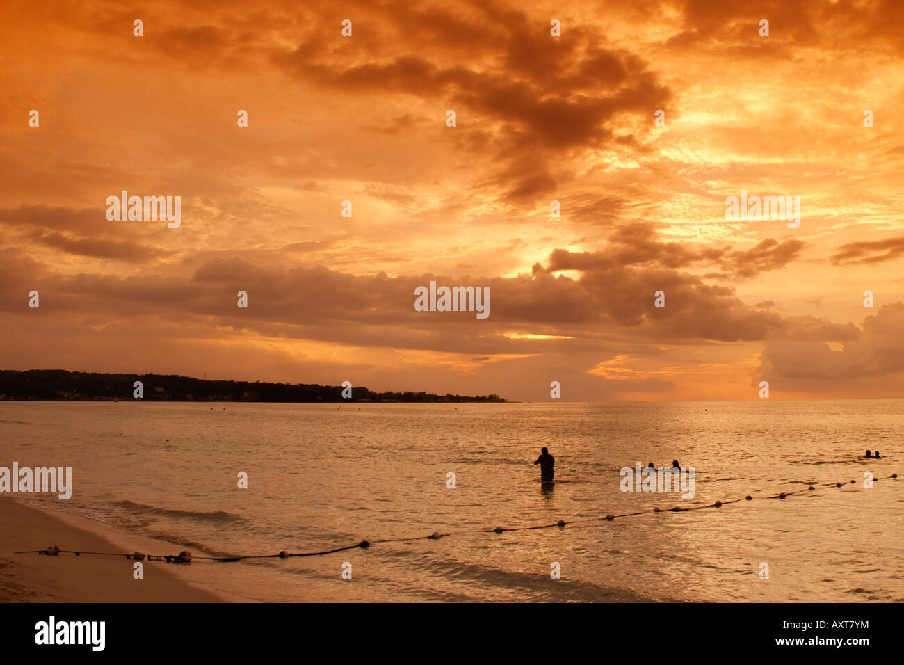 Jamaica Negril beach sunset Stock Photo