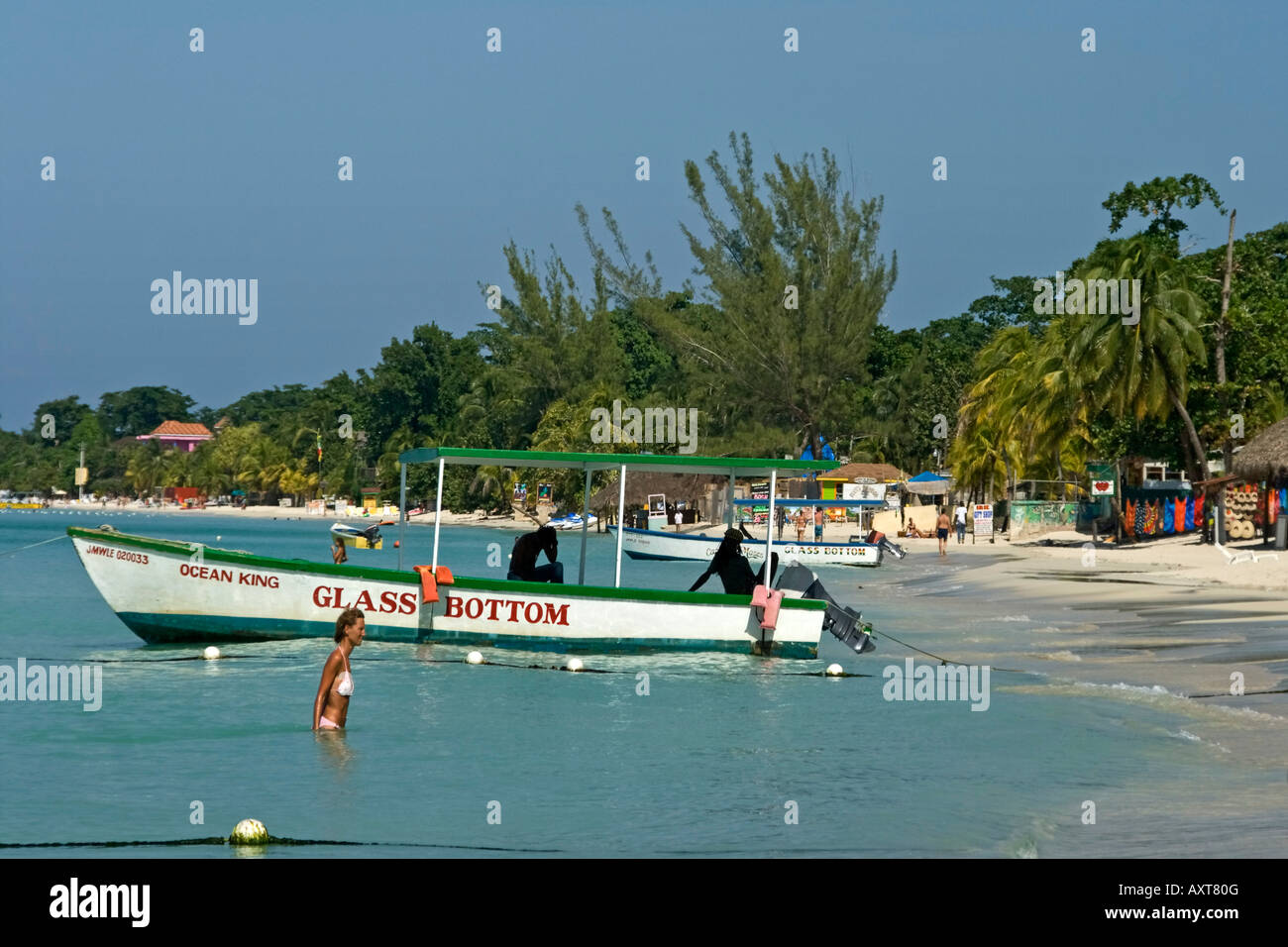 Jamaica Negril beach glass bottom boat Stock Photo