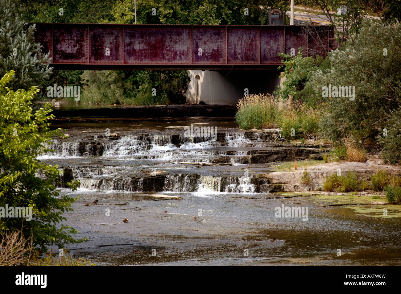 The waterfall on the Sheboygan River in Sheboygan Falls Wisconsin Stock Photo