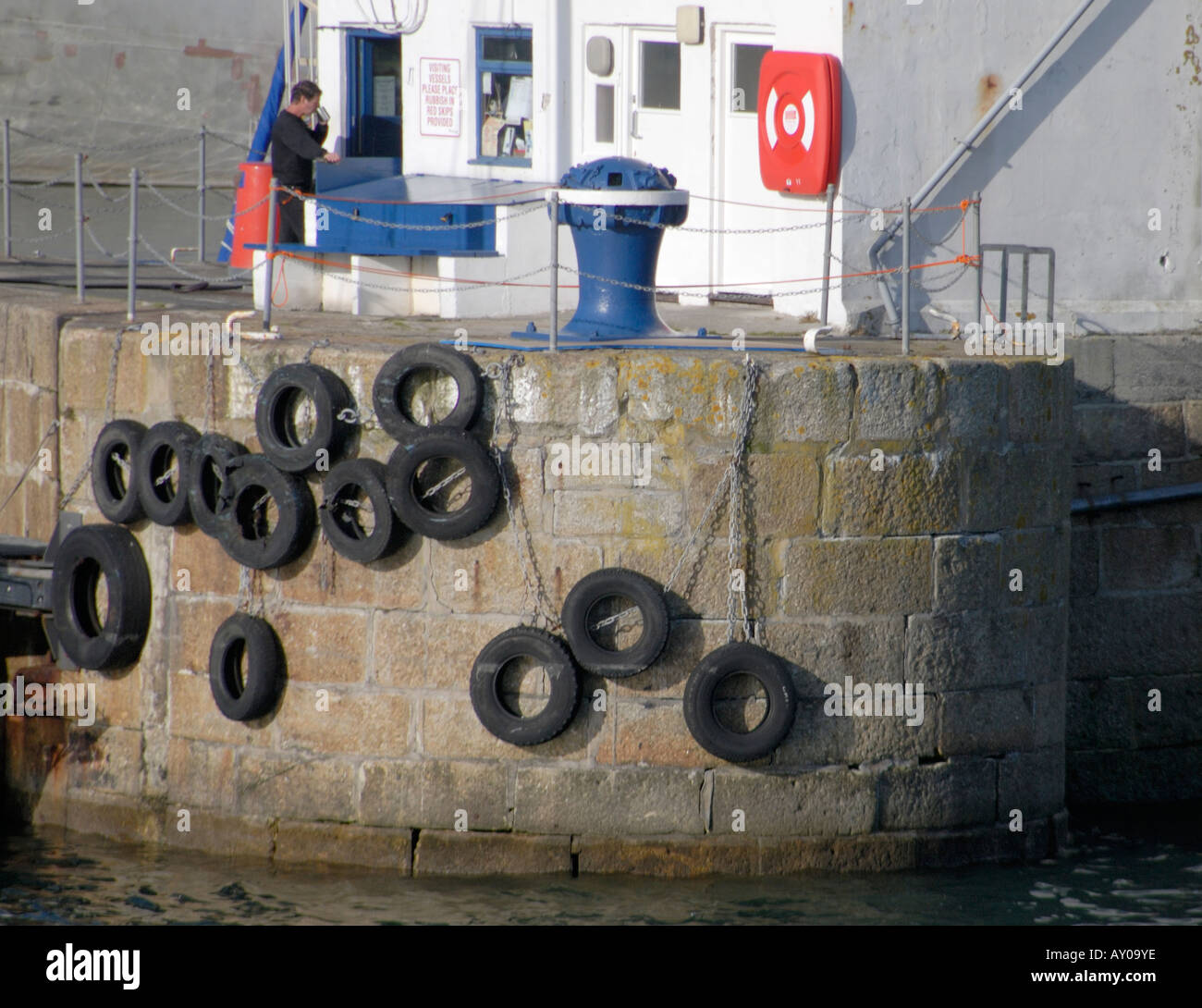 Old car tyres used as fenders to protect ships from the for Old tyre uses