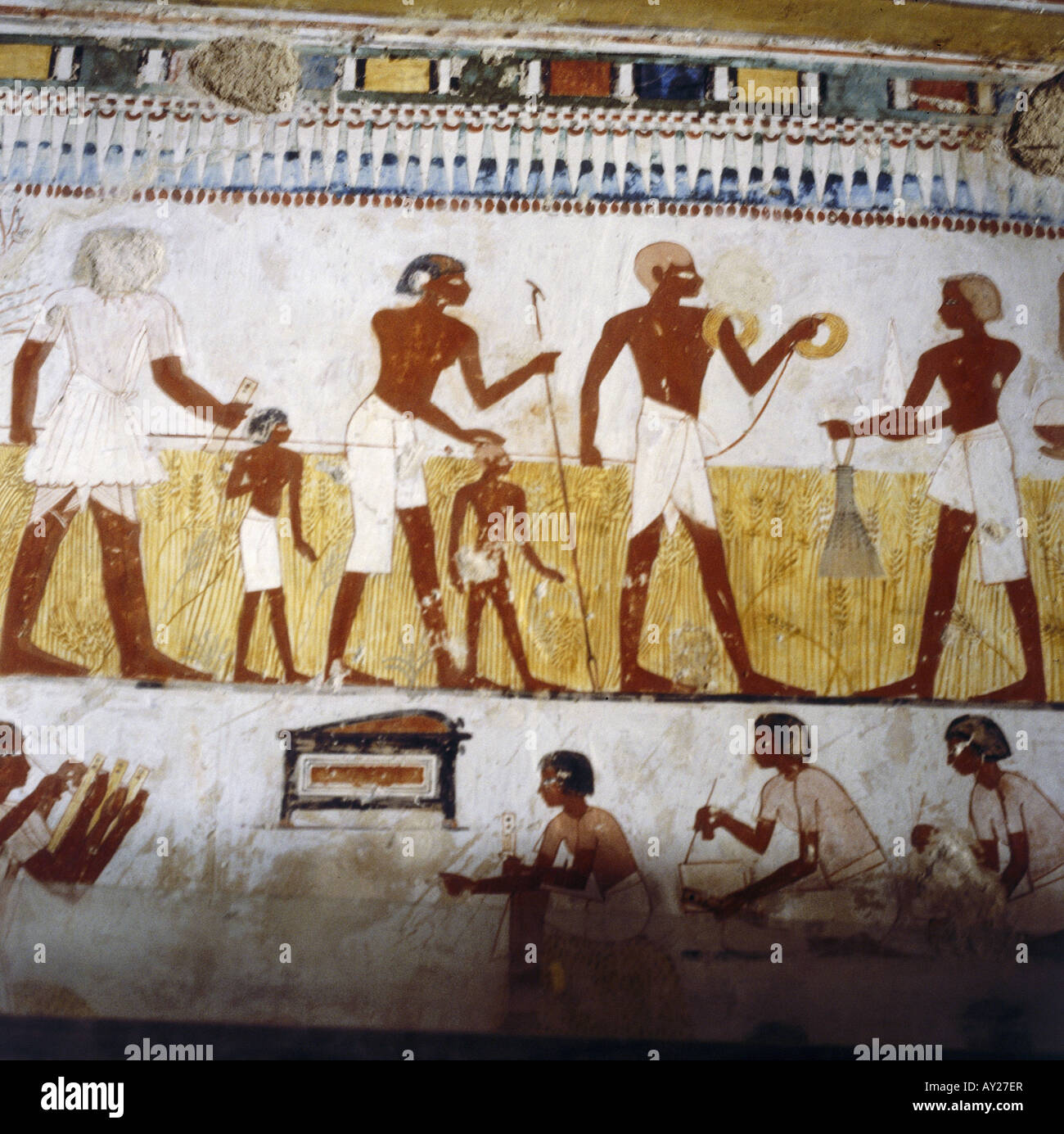 Fine arts ancient world egypt mural painting measuring for Ancient egyptian mural
