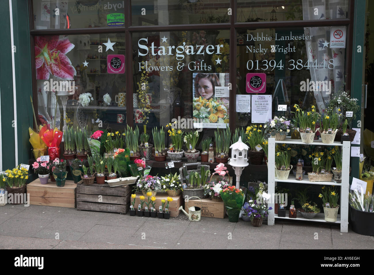 Flower shop window with display of plants and gardening items Stock Ro