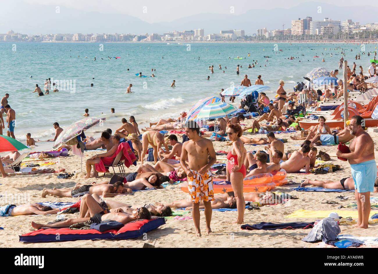 Big hustle on the Playa de Palma Beach, El Arenal, Majorca, Balearic Islands, Spain Stock Photo