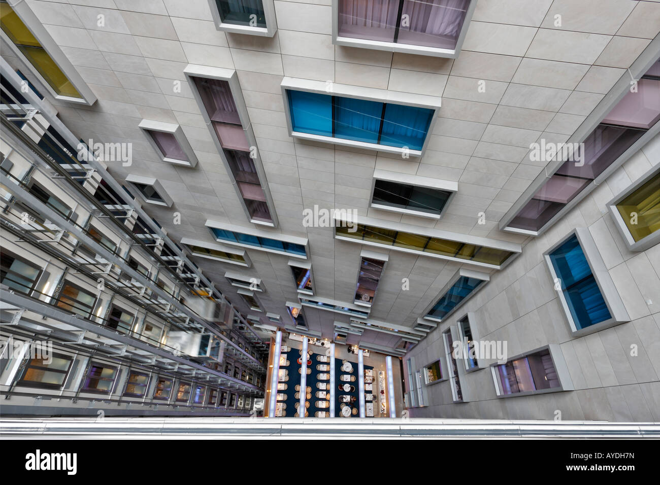 View Of Restaurant Looking Down The Atrium At The Park Plaza County Stock Photo Royalty Free