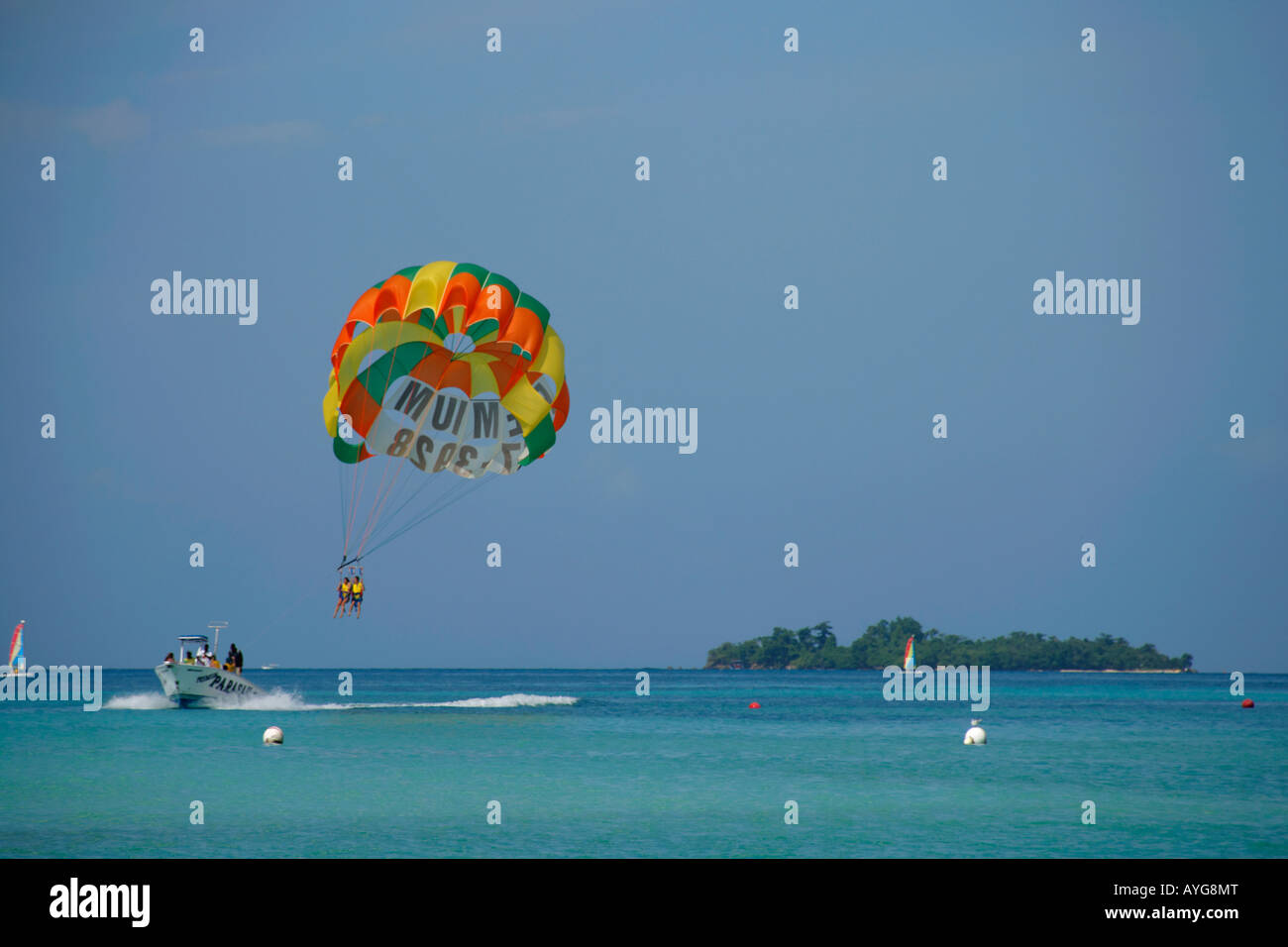 Jamaica Negril beach Parasailing boat Stock Photo