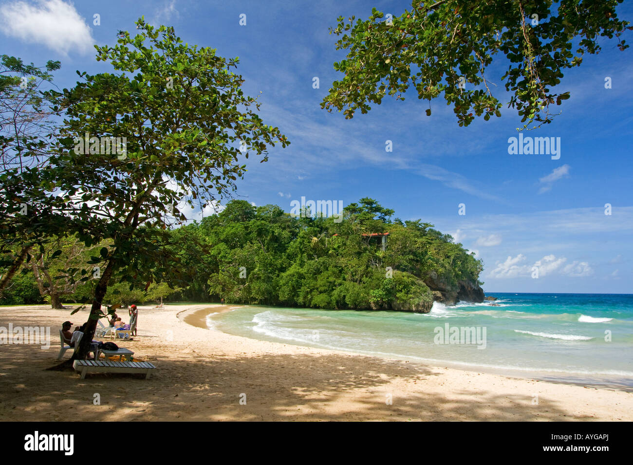 Jamaica Port Antonio Tropical landscape at Frenchmans Cove beach Stock Photo