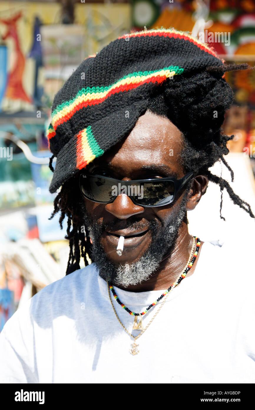 Jamaica Negril beach cool Rastafari man Stock Photo