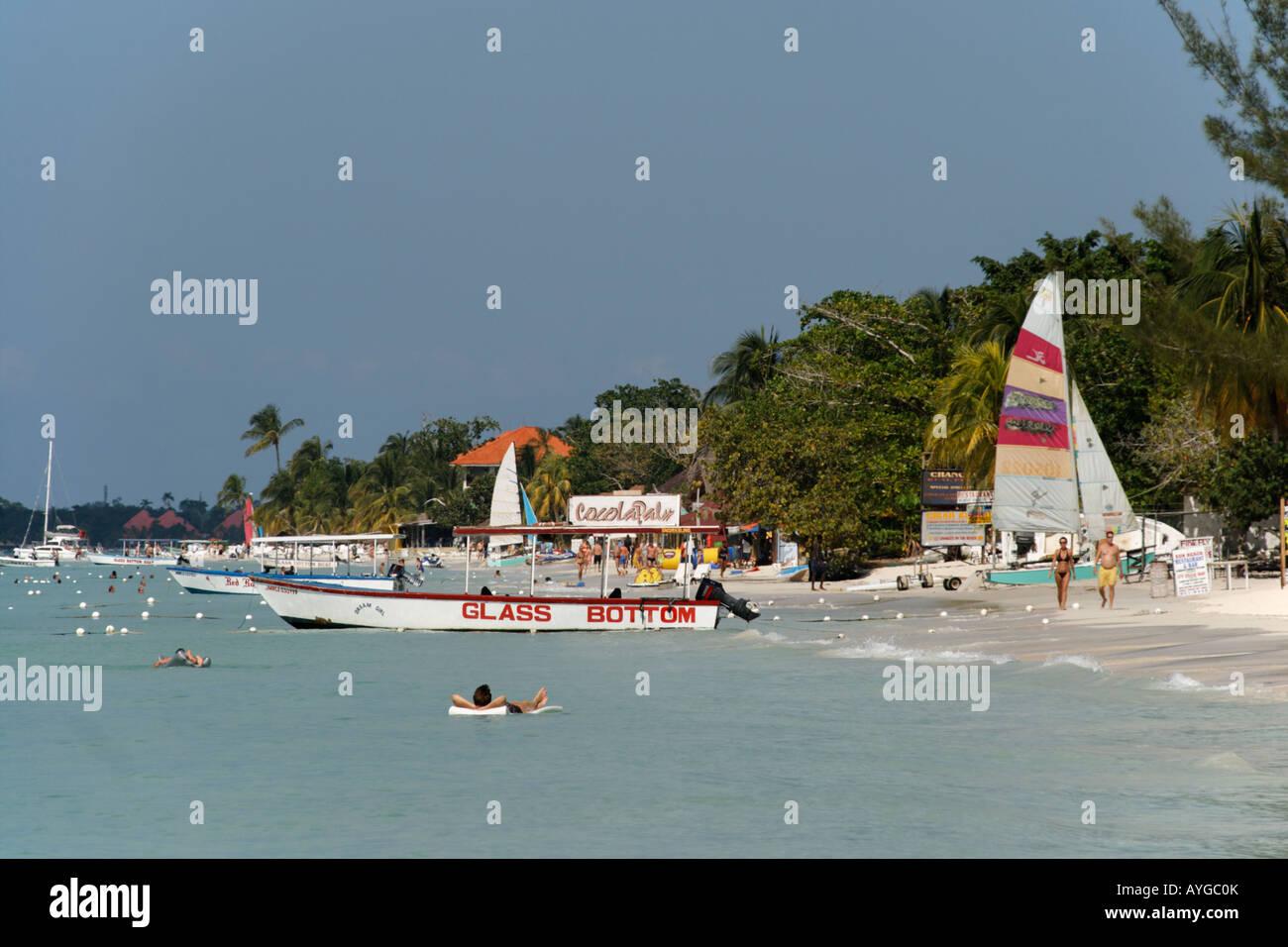 Jamaica Negril beach glass bottom boat Stock Photo