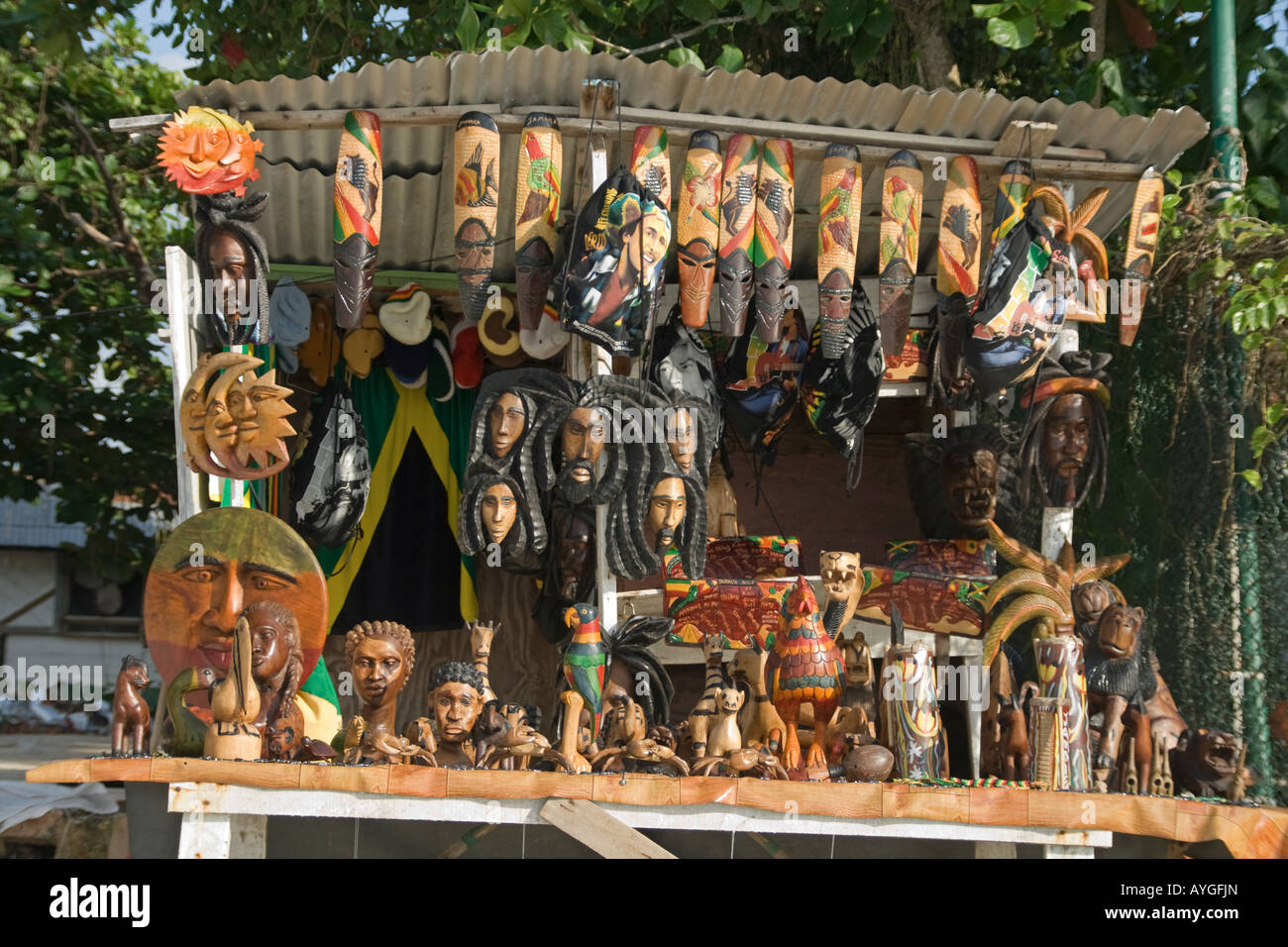 Jamaica Negril beach Rastafari Handicraft Souvenirs Stock Photo