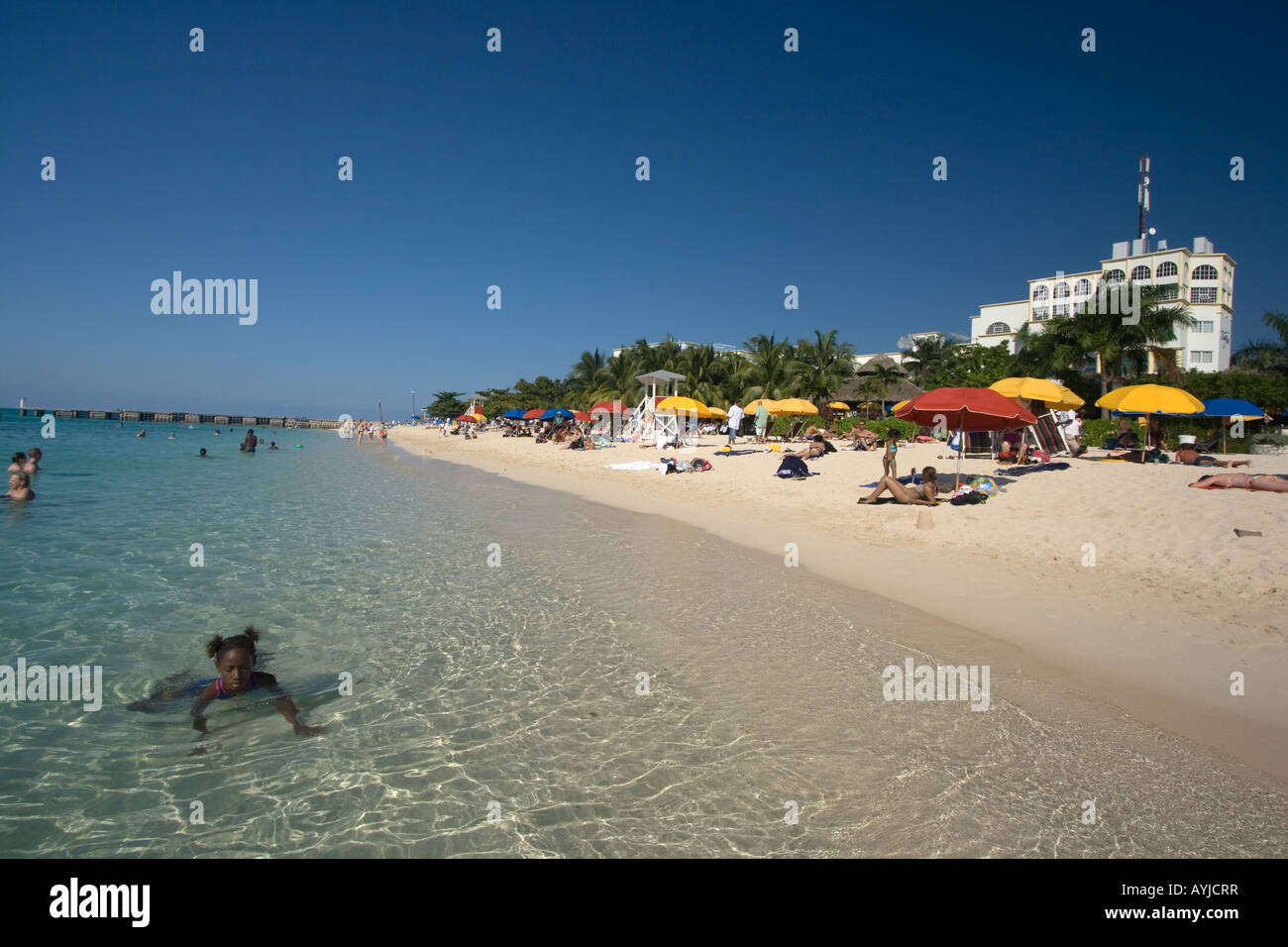 Jamaica Montego Bay beach Dr Caves beach Stock Photo