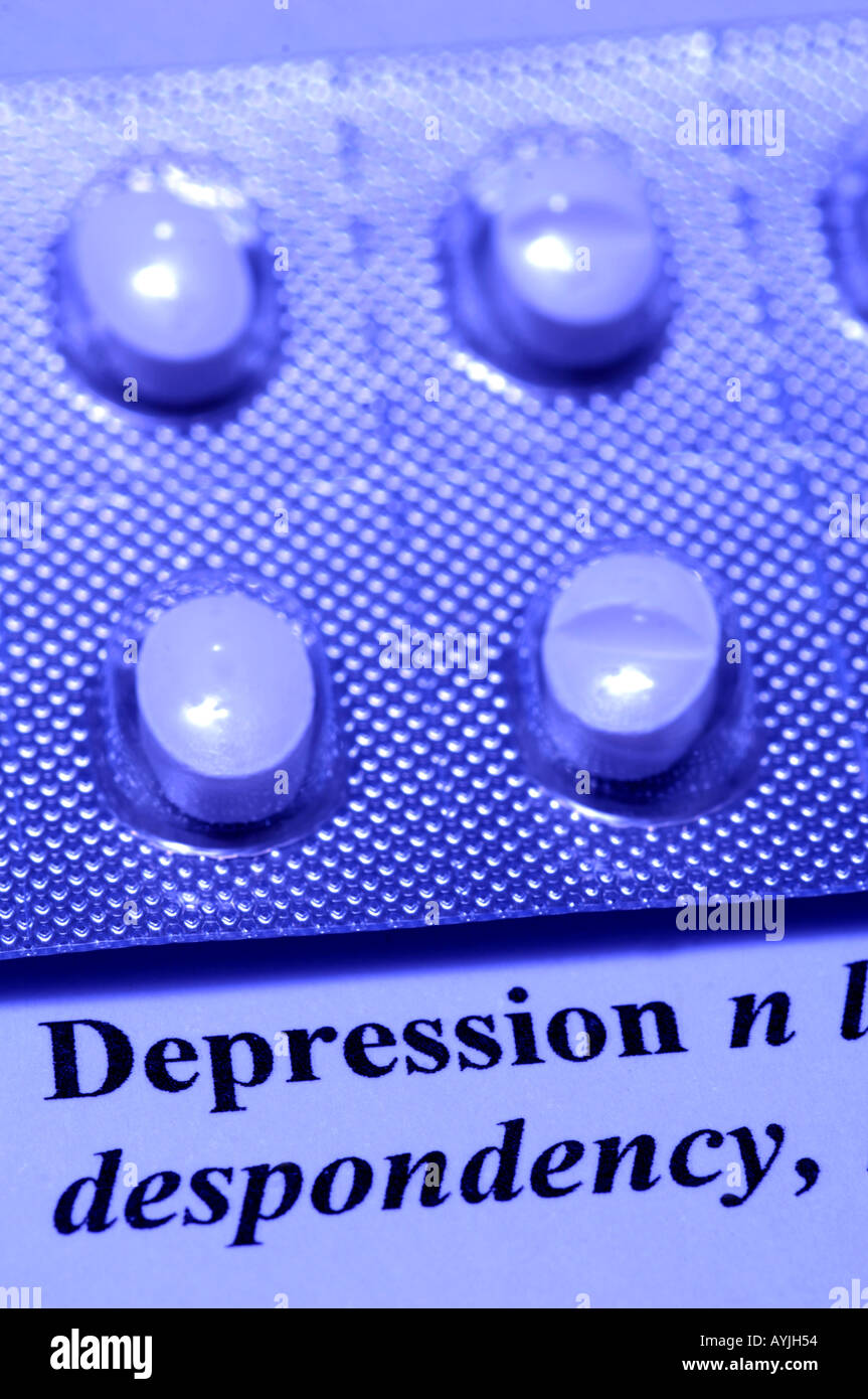 Anti-depressant Citalopram with the dictionary definition of the word depression Stock Photo