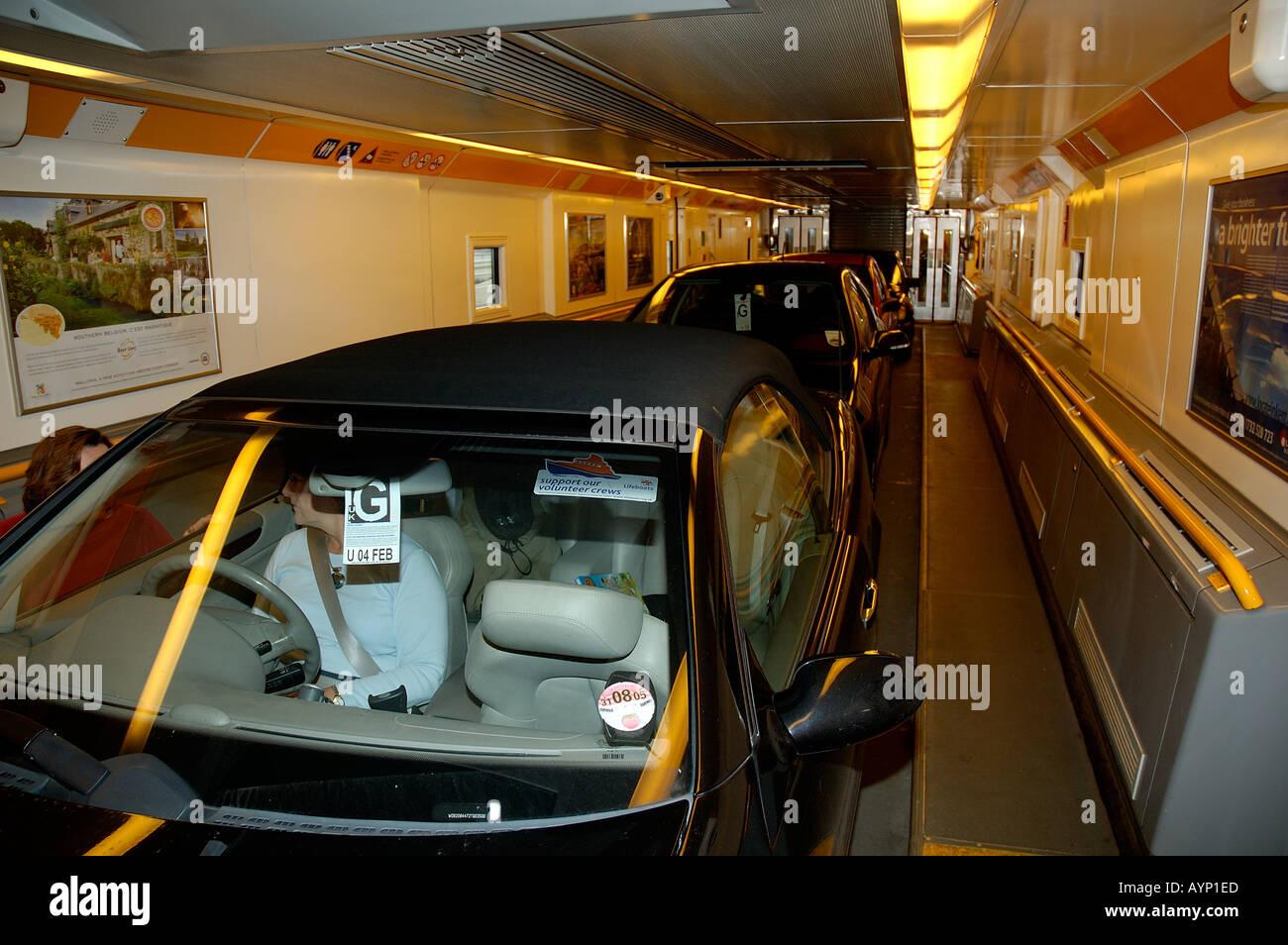 cars inside the euro tunnel car shuttle folkestone kent england stock photo 3187180 alamy. Black Bedroom Furniture Sets. Home Design Ideas