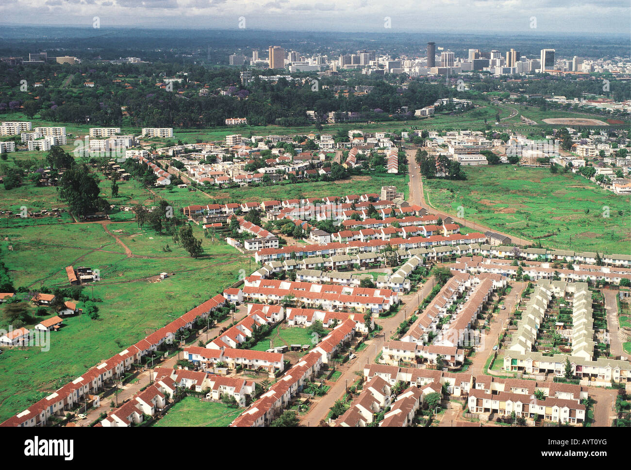 Aerial view of part of suburb of south c with nairobi city - Kenay home malaga ...