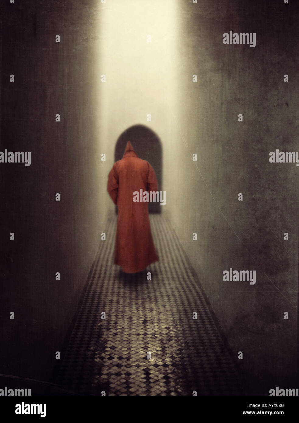 monk floating in air in monastery hallway Stock Foto