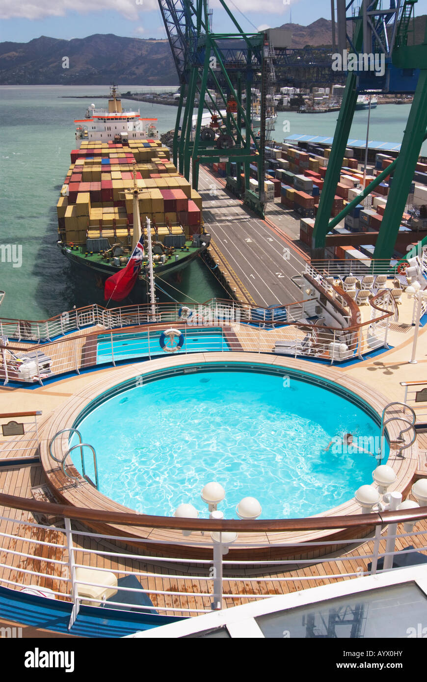 Aft Decks Of A Cruise Ship With Swimming Pool And A Container Ship Stock Photo Royalty Free