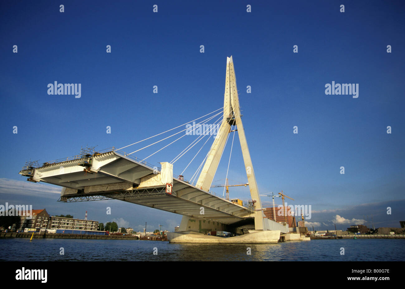Rotterdam the construction of the Erasmus bridge Stock ...
