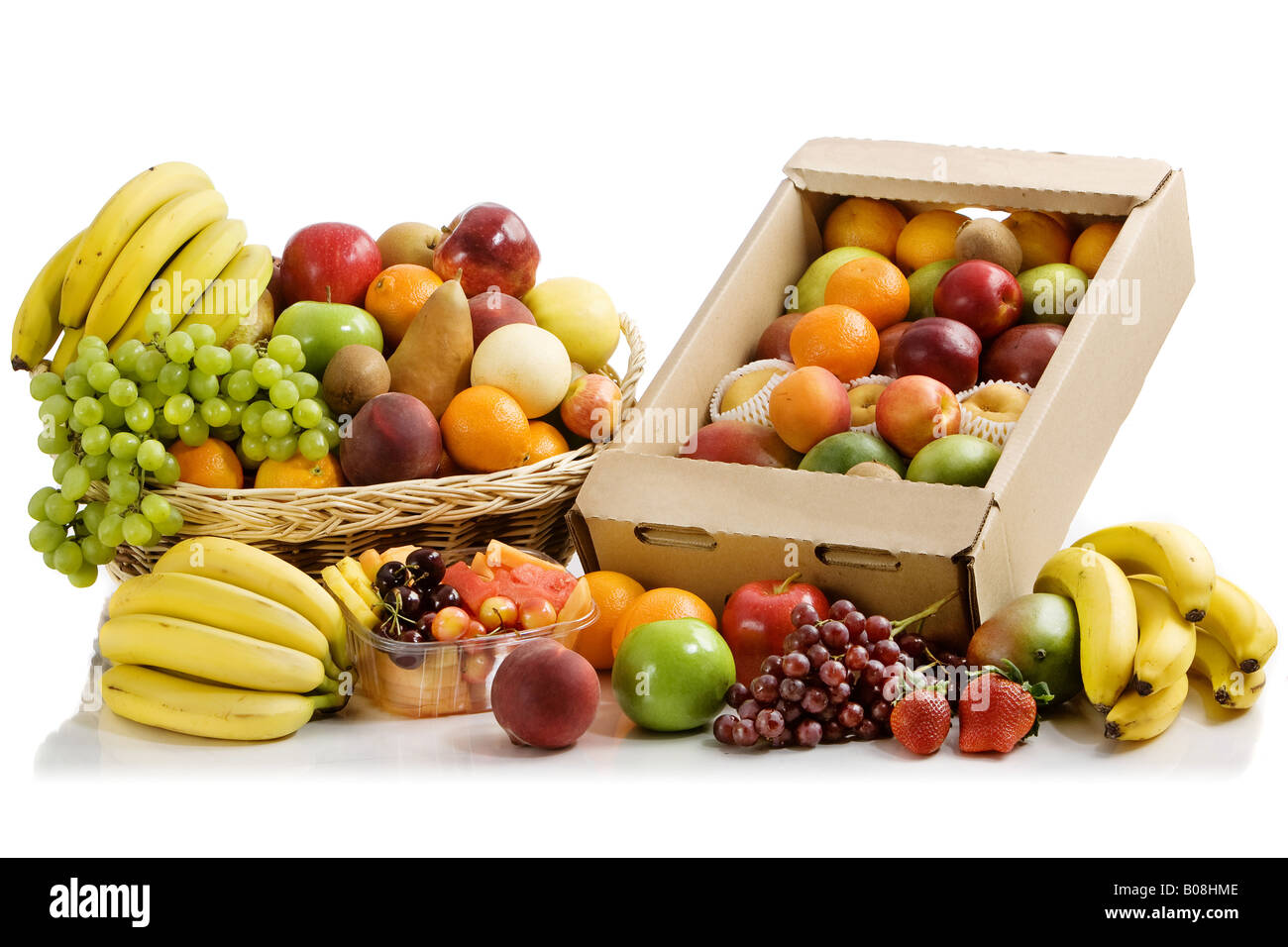 A whole bunch of colorful fruits. Stock Photo