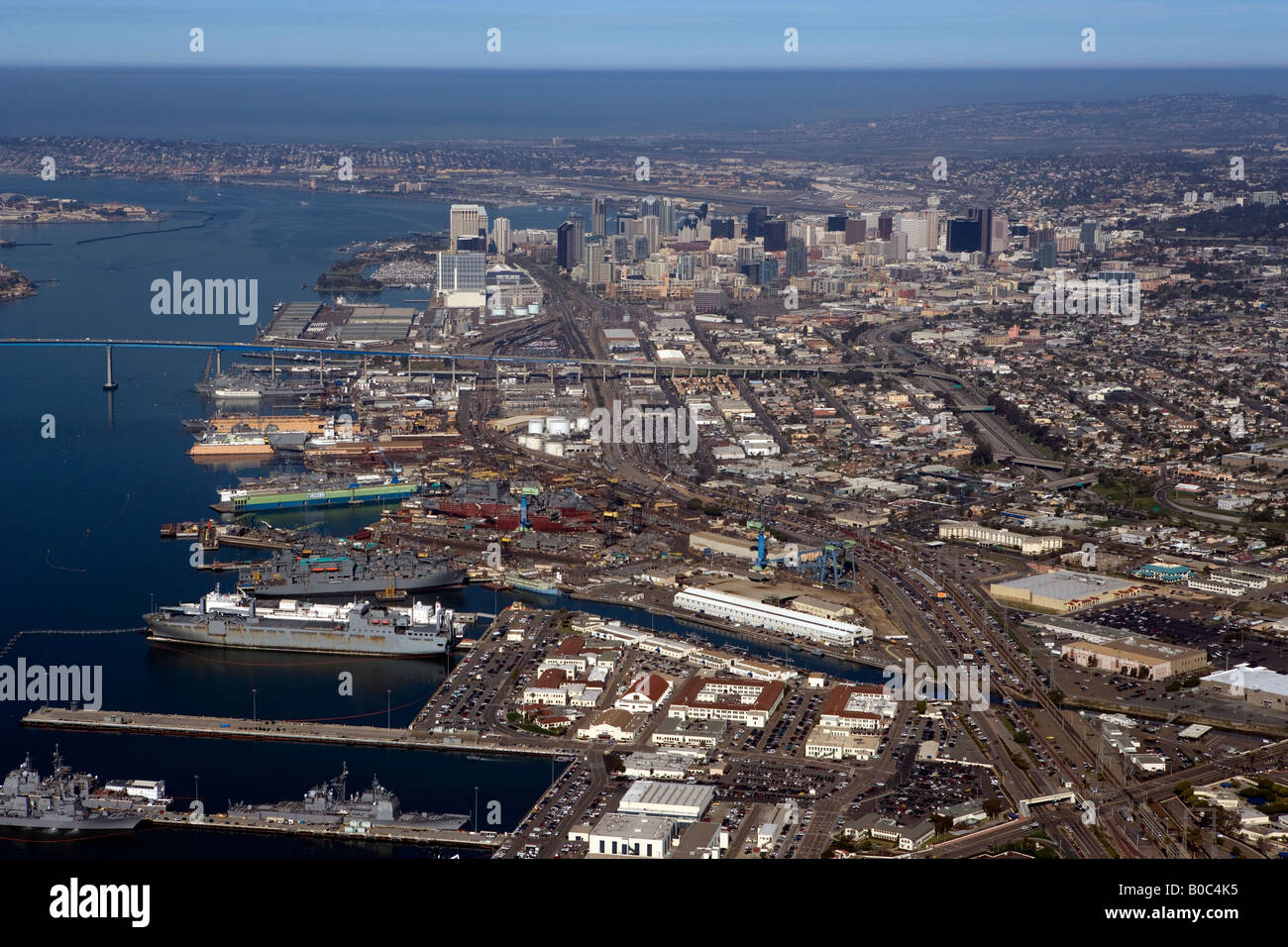 aerial San Diego, CA US Navy from southeast from above Stock Photo