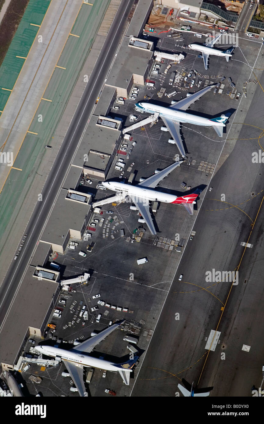 aerial above loading and unloading airliners at Los Angeles International Airport LAX, California Stock Photo