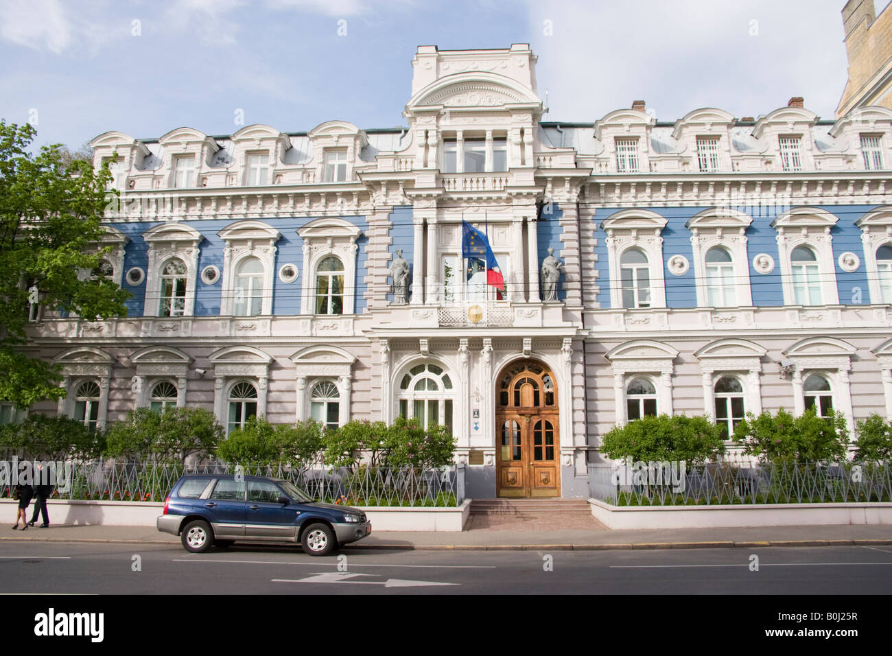 ambassade de france en lettonie france embassy in latvia stock photo royalty free image. Black Bedroom Furniture Sets. Home Design Ideas