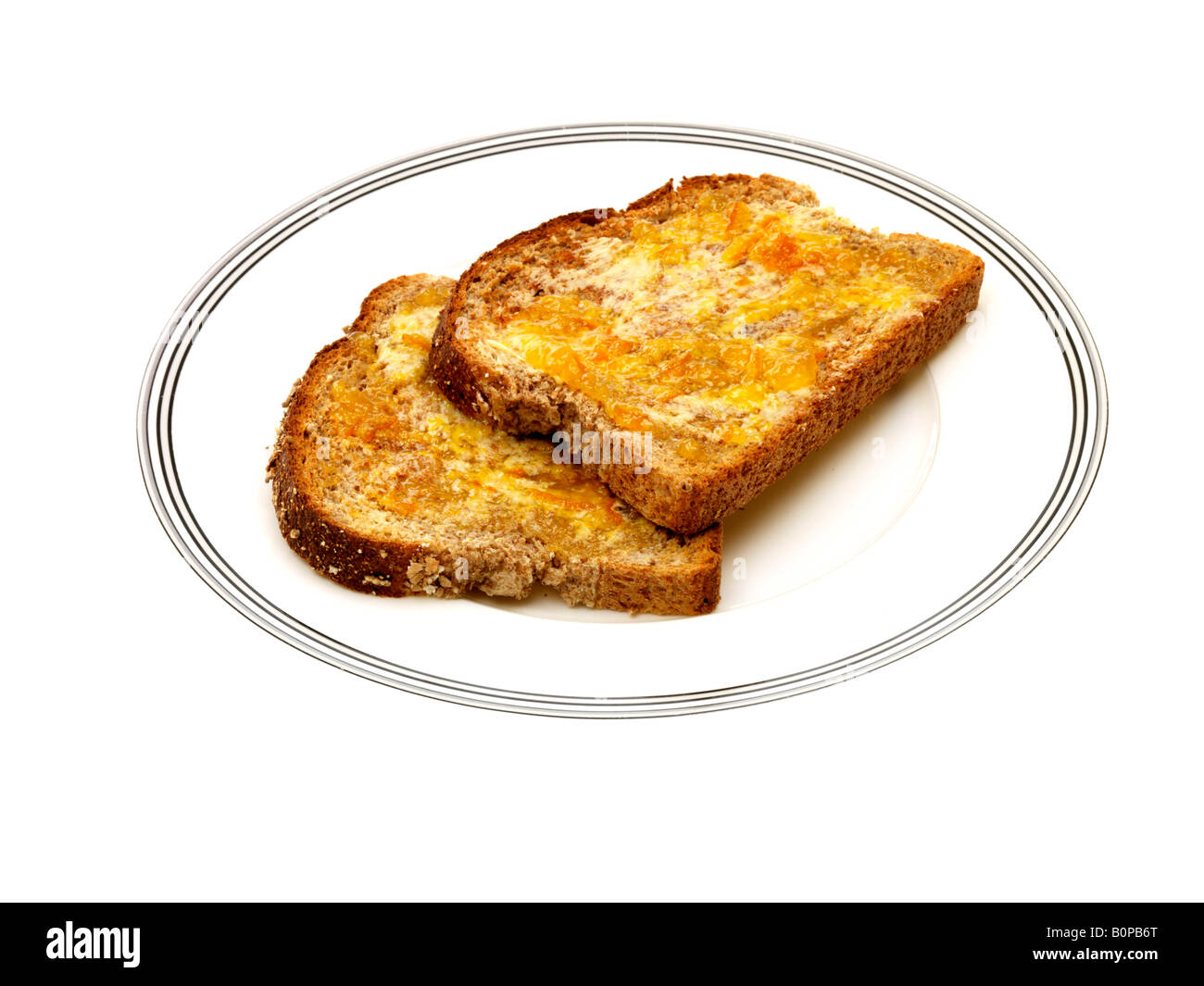 Wholemeal Toast With Marmalade Stock Photo