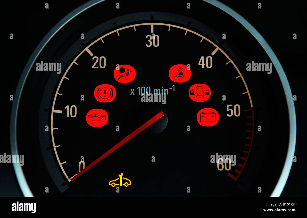 A BRITISH CAR DASHBOARD REV COUNTER DIAL WITH VARIOUS RED ...