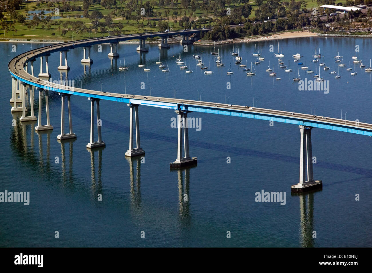 aerial above Coronado bridge San Diego California Stock Photo