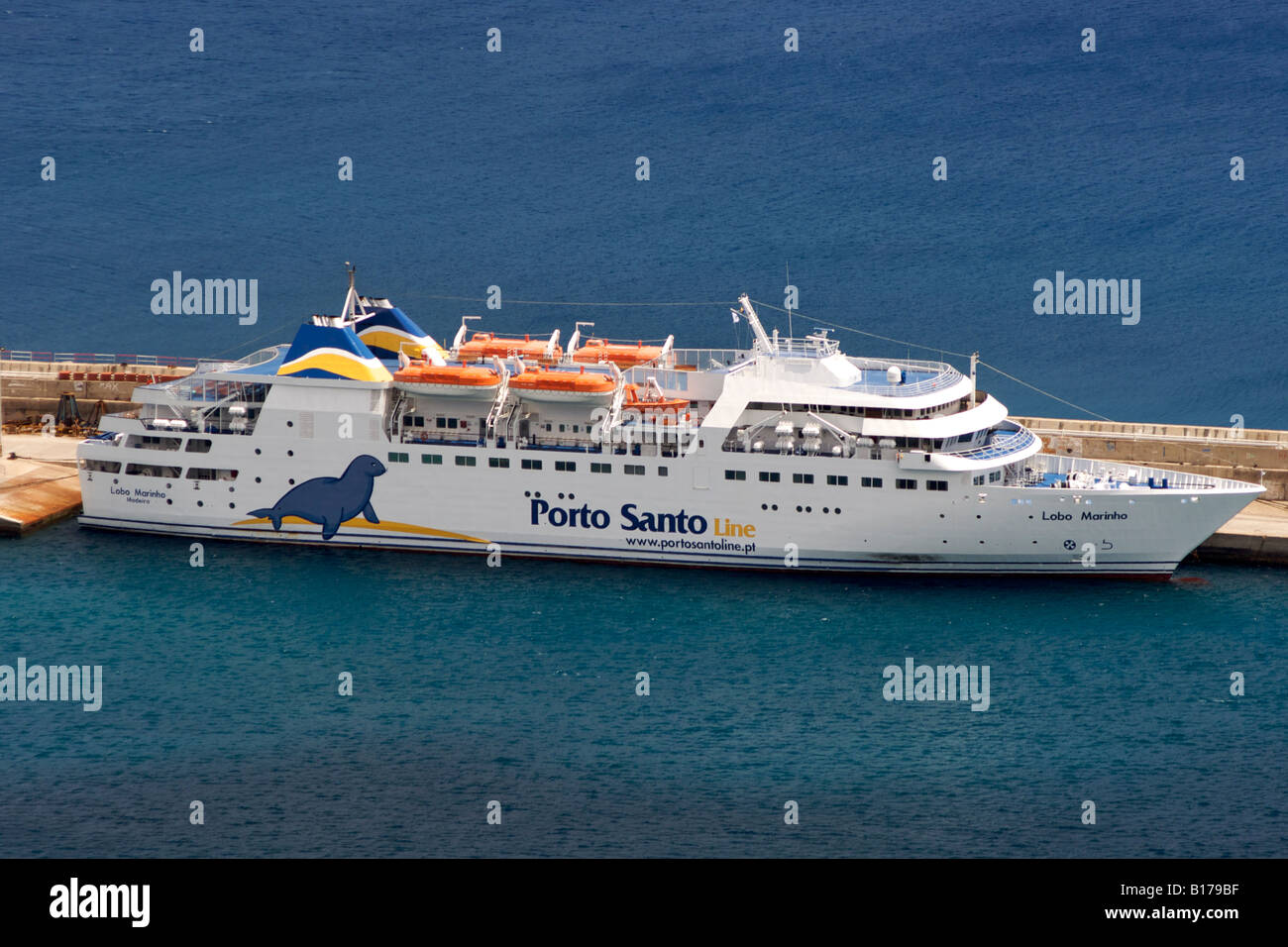 the madeira porto santo ferry in the port of the portuguese atlantic stock photo royalty free. Black Bedroom Furniture Sets. Home Design Ideas