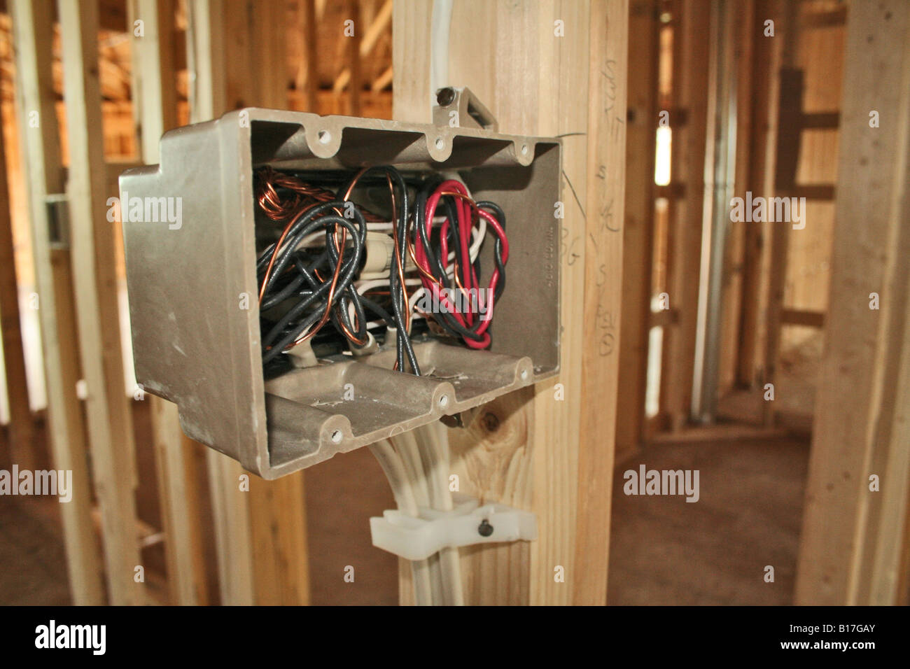 Electrical Outlet Wiring In New Home Construction Stock