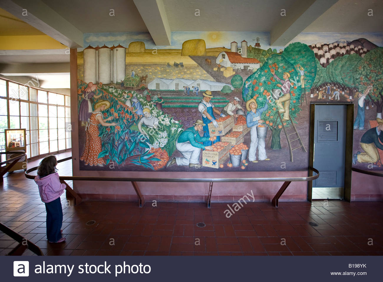 Wpa mural in the lobby of coit tower in san francisco for Coit tower mural artists