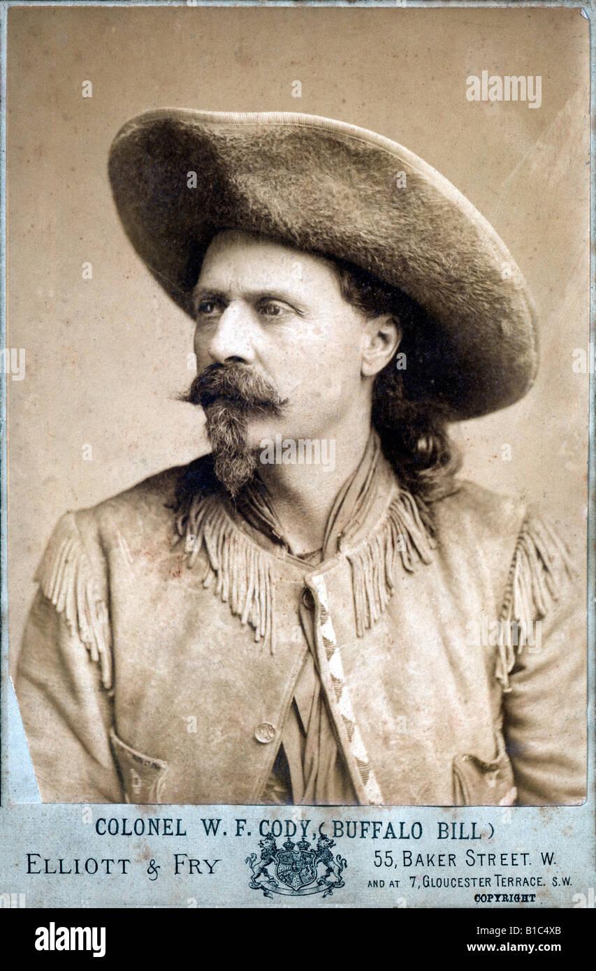 Col WF Cody Buffalo Bill 1884 English Victorian carte de visite photo Stock Photo, Royalty Free