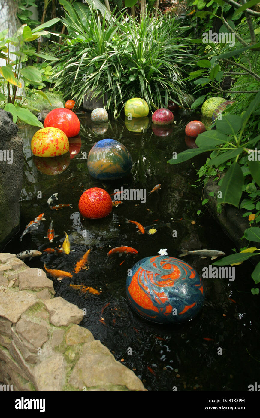 Orbs In Koi Fish Pond Blown Glass Art By Dale Chihuly Franklin Stock Photo Royalty Free Image