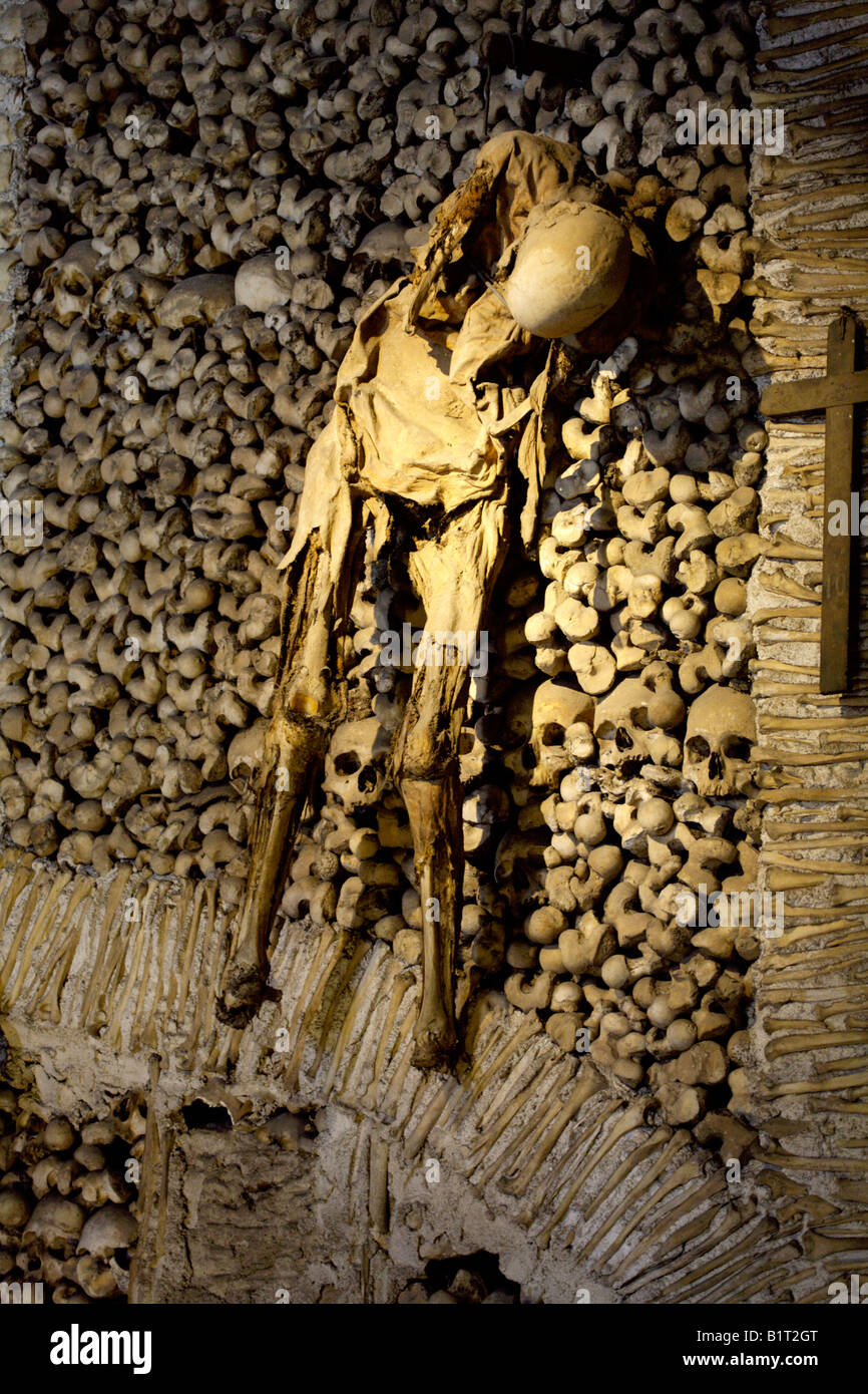 Wall decorated with the mummified body of a human being believed to be a man, Evora, Alentejo, Portugal, Europe Stock Photo