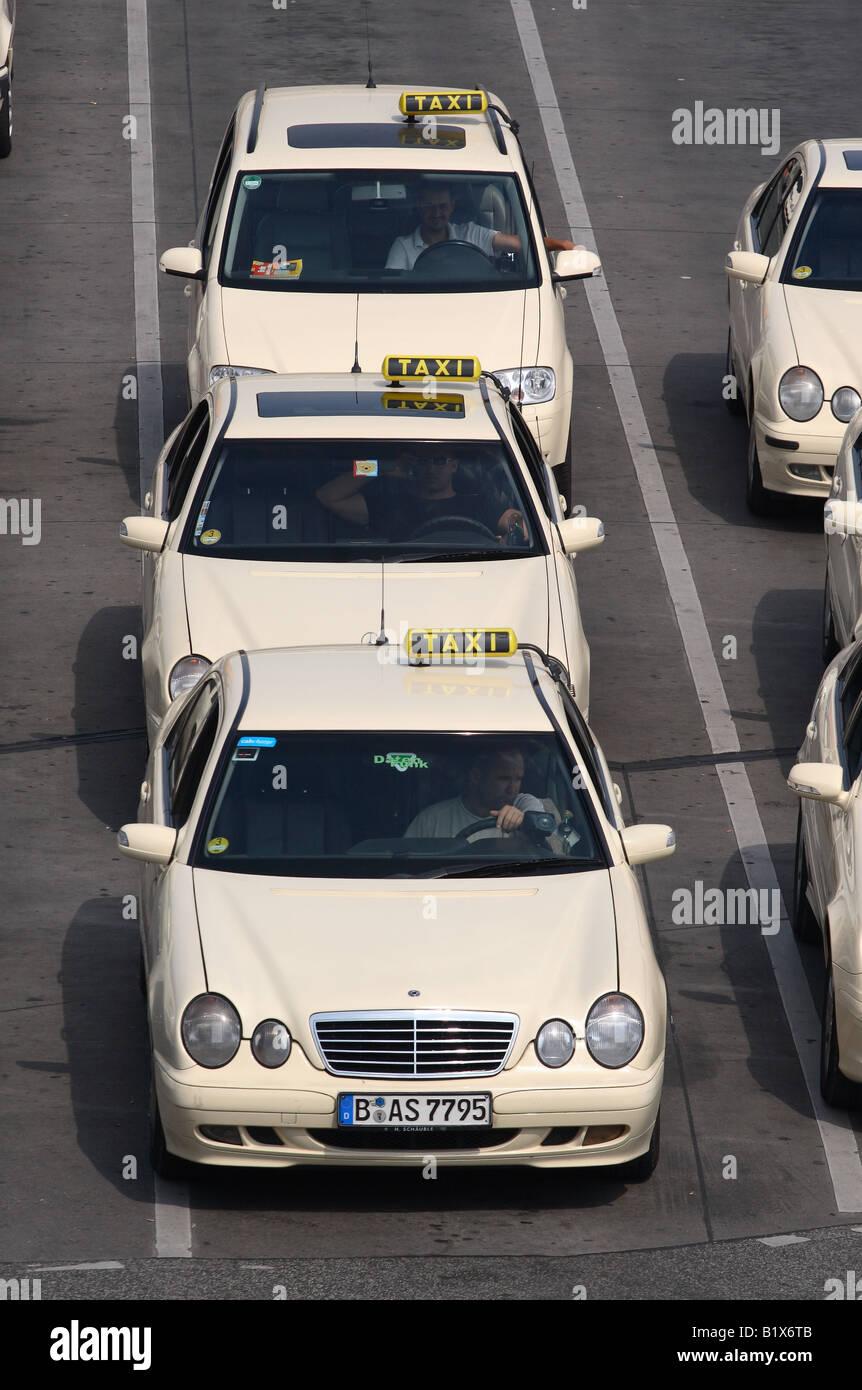 Berlin germany line of mercedes taxi car vehicle queue at for Berlin tegel rent a car